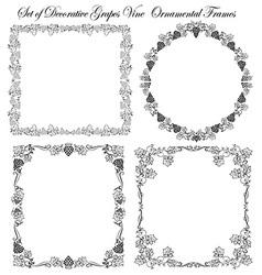 Set of frames grapes vine vector image