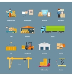Set of Icons Transport Logistics Concept vector