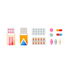 set of various pills and tablets in vector image