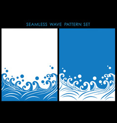 Set two japanese seamless wave patterns vector