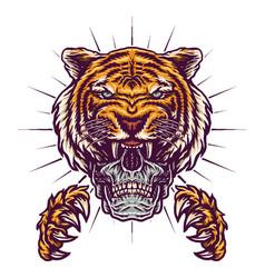 Skull tiger claws vector