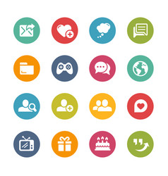 Social communications icons - fresh colors series vector