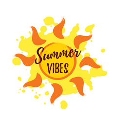 sun with summer vibes lettering on white vector image
