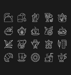 tea simple white line icons set vector image