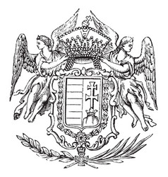The great seal of hungary is a hungarian coat of vector