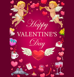 valentines day hearts cupids and romantic gifts vector image