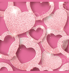 valentines day seamless pattern with shining vector image