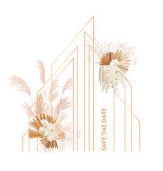 Watercolor floral wedding frame pampas vector