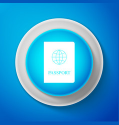 white passport icon isolated on blue background vector image
