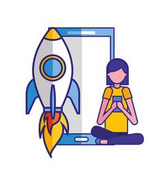 woman using smartphone rocket startup vector image