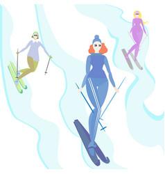women do ski creative cartoon funny vector image