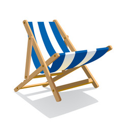 Wooden beach blue striped deck chair isolated on vector