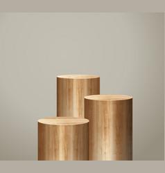 Wooden podium presentation mock up show cosmetic vector