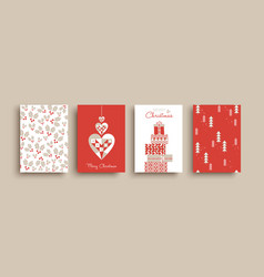 year retro folk art card pattern set vector image