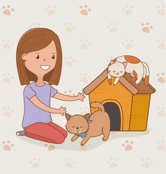 young woman with cute cats mascot vector image