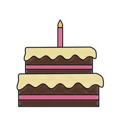 big birthday cake vector image vector image