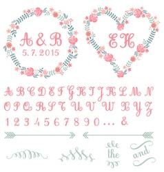 monogram in floral frames set vector image