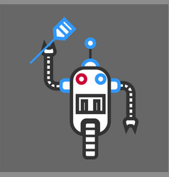 robot machine cooker with wooden spatula for vector image vector image