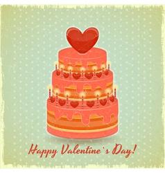 Valentines Cake on Vintage Background vector image vector image