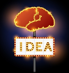Brain and word of idea neon sign vector image vector image