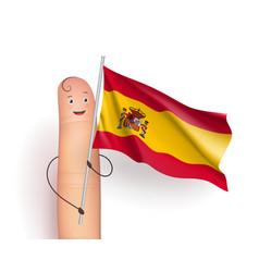 Spain flag at finger man vector