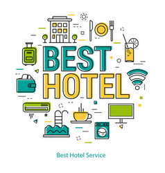 best hotel service - line concept vector image