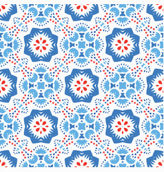 blue red pattern flower ornament vector image vector image