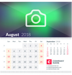 calendar for august 2018 week starts on sunday 2 vector image vector image
