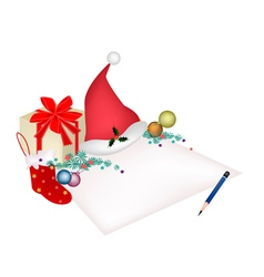 Christmas Item and Gift Box on Blank Page vector image vector image