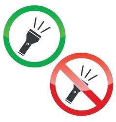 Flashlight permission signs set vector image