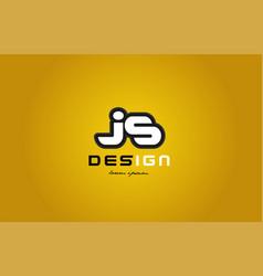 js j s alphabet letter combination digit white on vector image