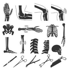 Orthopedic and spine black symbols human vector image