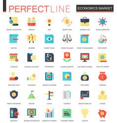 set of flat economics market icons vector image