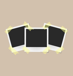 set of realistic photo frames on sticky tape vector image vector image