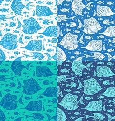 set of seamless ocean patterns vector image