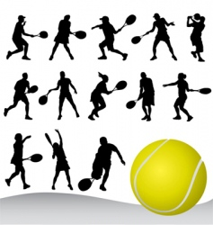 set of tennis player vector image vector image