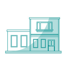 Blue shading silhouette cartoon facade two house vector