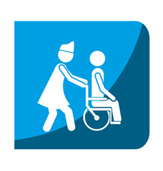 Color square frame with nurse helping to person in vector