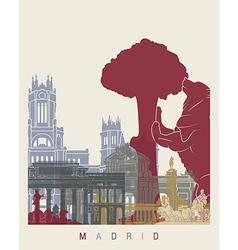 Madrid skyline poster vector image