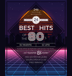 Retro 80s hits party poster vector image