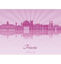 Trieste skyline in purple radiant orchid vector image