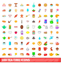 100 tea time icons set cartoon style vector