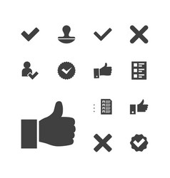 13 yes icons vector