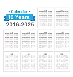 2016 2025 Calendar Black text on a white vector