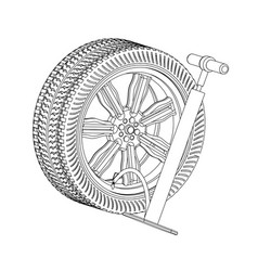 3d model of the wheel and pump on a white vector image
