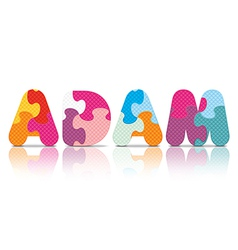 ADAM written with alphabet puzzle vector