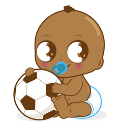 African american baby boy holding a soccer ball vector