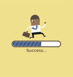 african businessman run on progress loading bar vector image
