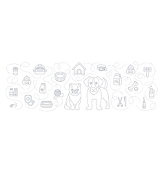 Animal Pets Grooming and Healthcare Flat Line vector image