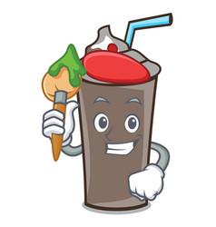 artist ice chocolate character cartoon vector image